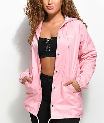 Obey Defiant Rose Light Pink Hooded Coaches Jacket