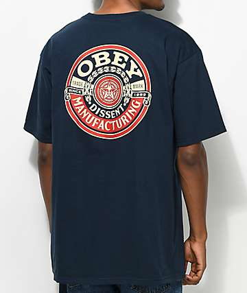 Obey Dissent MFG Wreath Navy T-Shirt