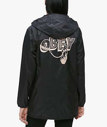 Obey Dominance Black Hooded Coaches Jacket