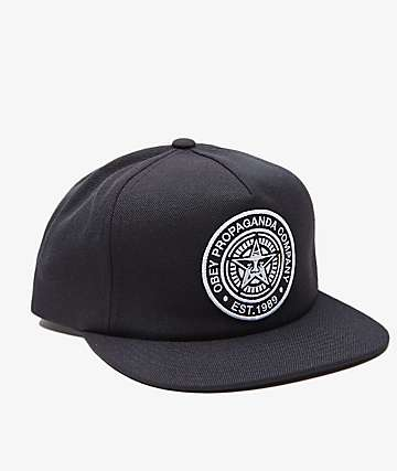 Obey Established 89 Black Snapback Hat