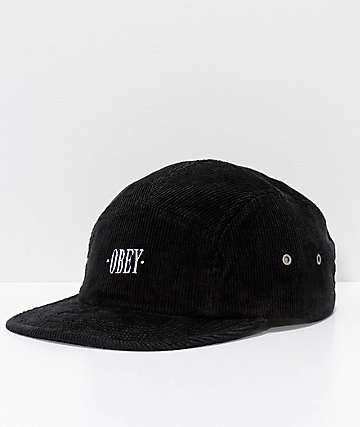 Obey Journeyman Black Corduroy 5 Panel Hat