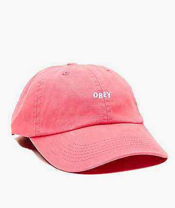 Obey Jumble Bar II Coral Six Panel Hat