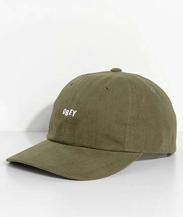Obey Jumble Bar III Olive Green Six Panel Hat
