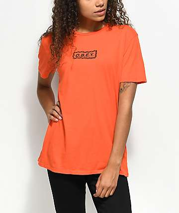 Obey Labour Of Love Chain Orange T-Shirt