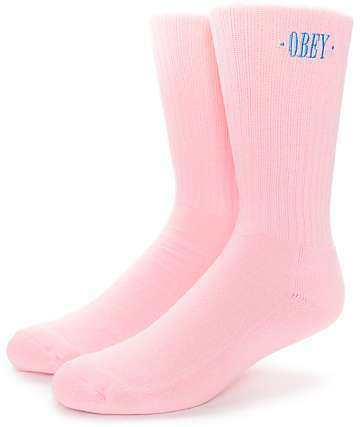 Obey New Times Pink Crew Socks