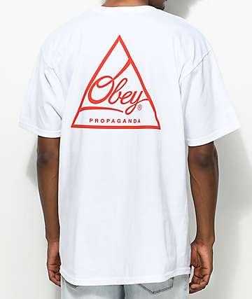 Obey Next Round 2 White & Red T-Shirt
