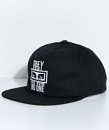 Obey No One Black Snapback Hat