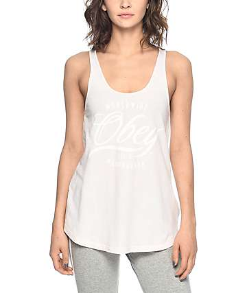Obey Note Script Light Pink Tank Top
