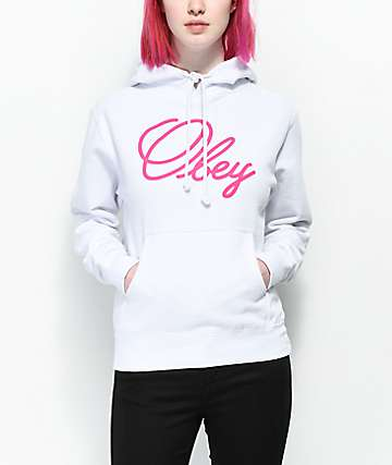 Obey Old Script Basic White Hoodie