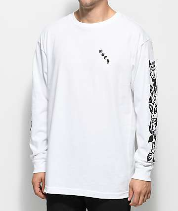 Obey Olde Rose Long Sleeve White T-Shirt
