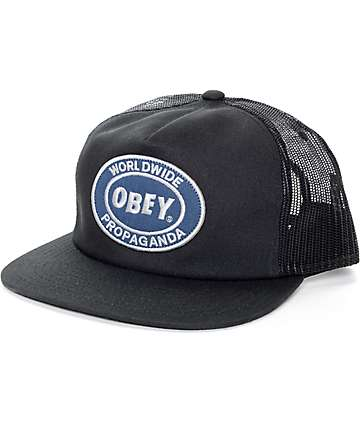 Obey Oval Patch Black Trucker Hat
