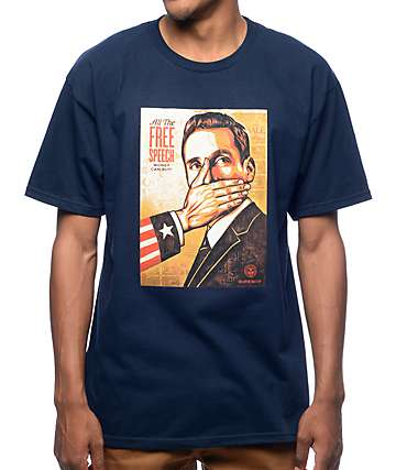 Obey Pay Up Or Shut Up Navy T-Shirt
