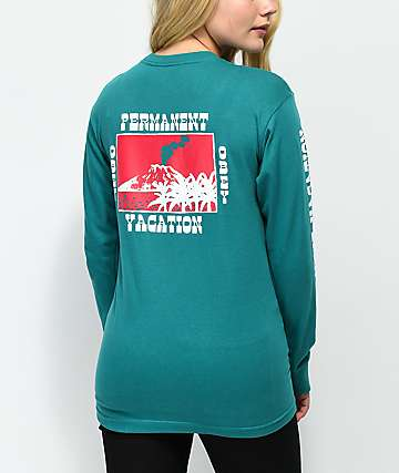 Obey Permanent Vacation Teal Long Sleeve T-Shirt