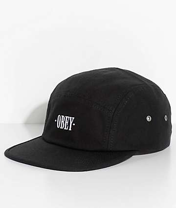 Obey Perspective Black Five Panel Hat