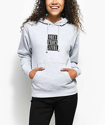 Obey Propaganda Stacked Heather Grey Hoodie