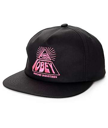 Obey Psychic Industries Black Snapback Hat