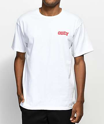 Obey Quake Embroidery White T-Shirt