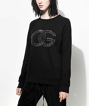 Obey Skattered Black Crew Neck Sweatshirt