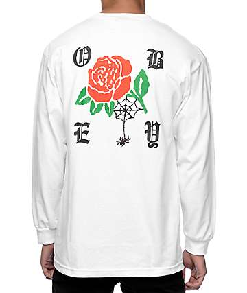 Obey Spider Rose White Long Sleeve T-Shirt