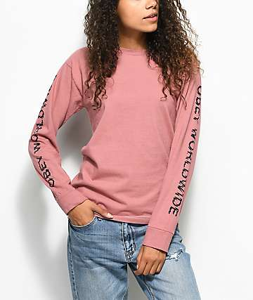 Obey Static Worldwide Dusty Rose Long Sleeve T-Shirt