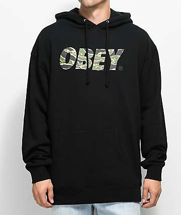 Obey Tiger Camo Font Black Hoodie
