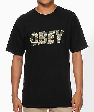 Obey Tiger Camo Font Black T-Shirt