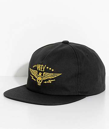 Obey Wings Black Snapback Hat