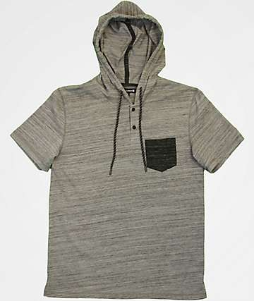Ocean Current Yikes Mouse Hooded Heather Grey T-Shirt