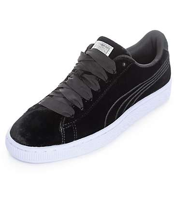 PUMA Basket Classic Velour VR Black Shoes (Womens)