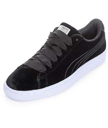 PUMA Basket Classic Velour VR Black Shoes (Womens)