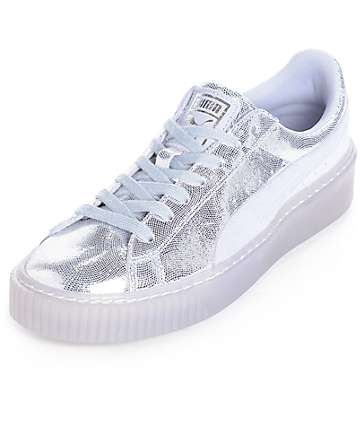 PUMA Basket Platform NS Silver Shoes (Womens)