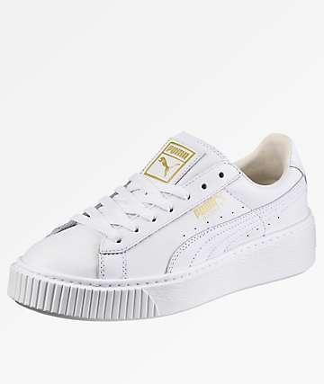 PUMA Basket Platform White Shoes