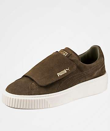 PUMA Suede Platform Big Strap Olive Night Shoes