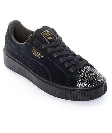 PUMA Suede Platform Crushed Gem Black Shoes (Womens)