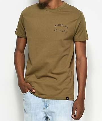 Peace Collective Canadian As Fuck Olive T-Shirt