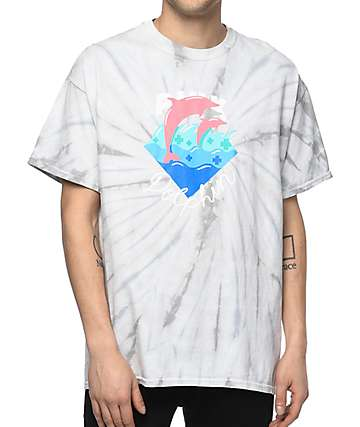 Pink Dolphin Waves Script White Tie Dye T-Shirt
