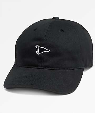 Primitive Pennant Black Curved Bill Strapback Hat