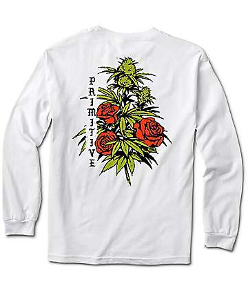 Primitive Rosebud White Long Sleeve T-Shirt