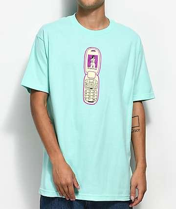 Primitive x Gangster Doodles Flip Phone Turquoise T-Shirt