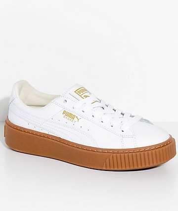 Puma Basket Platform Core White & Gum Shoes