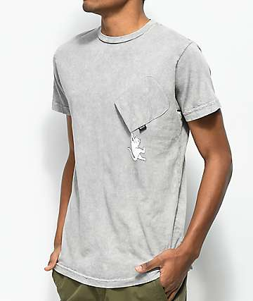 RIPNDIP Hang In There Nermal Grey Wash Pocket T-Shirt
