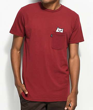 RIPNDIP Lord Nermal Pocket Burgundy T-Shirt