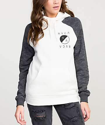 RVCA No End White & Charcoal Hoodie