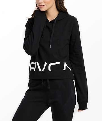 RVCA Splits Black Cropped Hoodie