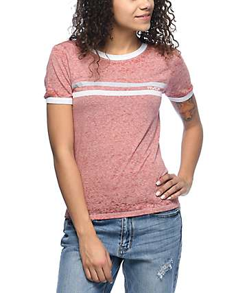 RVCA Stripe Chest Rustic Red Ringer T-Shirt