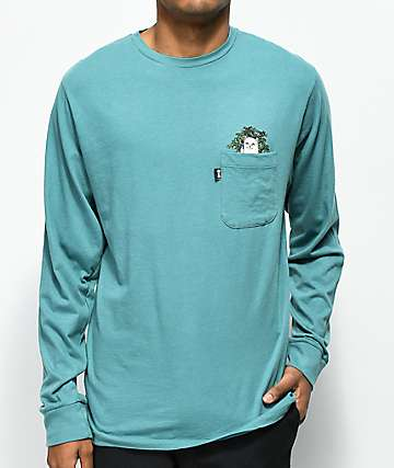 RipNDip Cat Nip Turquoise Long Sleeve Pocket T-Shirt