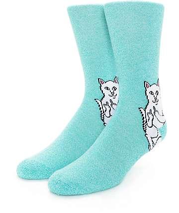 RipNDip Lord Nermal Heather Aqua Crew Socks