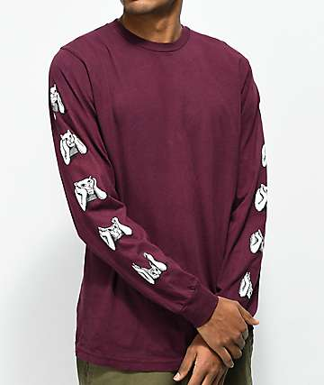 RipNDip Stoner Burgundy Long Sleeve T-Shirt