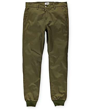 Rustic Dime Sunset Olive Twill Jogger Pants