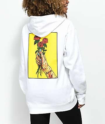 Salem7 Roses White Hoodie